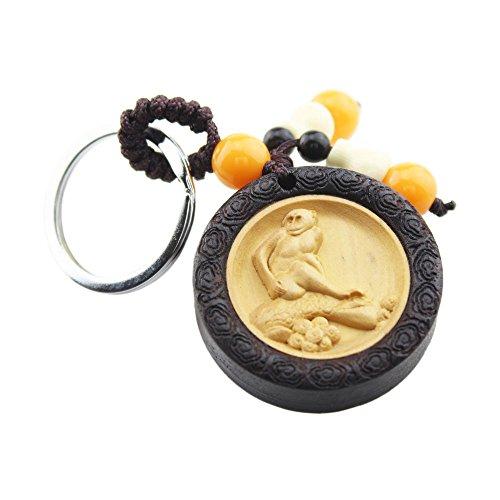 FOY-MALL Chinese Zodiac Series Keychain Monkey Ebony Wood with Boxwood Inlay Women Men Car Key Ring M1081