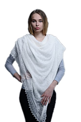 Russian Orenburg Shawl Goat Down 150x150 cm (59x59'') (White) by Orenburg shawl