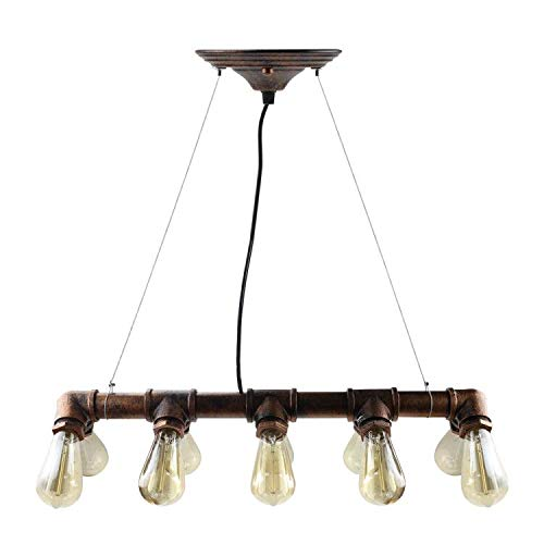 WINSOON Retro Industrial Steampunk LAMP Iron Pipe Island Ceiling Fixture Pendant Light Vintage (Bronze) (Changing Fluorescent Light Fixture To Track Lighting)