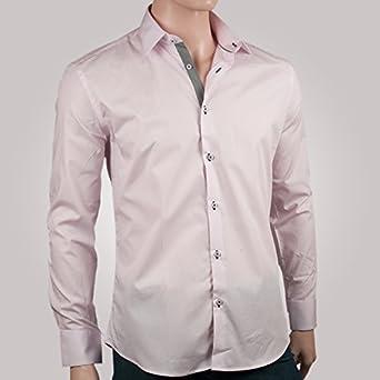 ozoa – Camisa para hombre rosa Duo con rayas negras – Camisa ...