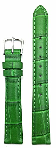 14mm Green Genuine Leather Watch Band   Square Alligator Crocodile Grain, Lightly Padded, Replacement Wrist Strap That Brings New Life to Any Watch (Womens Standard Length)