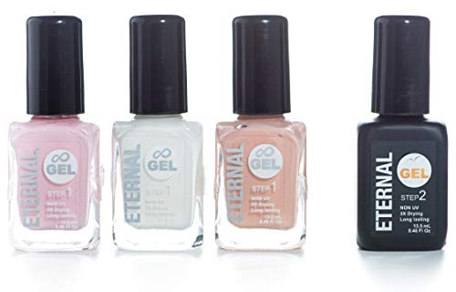 Eternal Gel Nail Polish Set - Collection of 3 Long Lasting Colors and 1 Gel Top Coat (Excuse Me Please) (Gel Nail Polish Without Uv Light Needed)