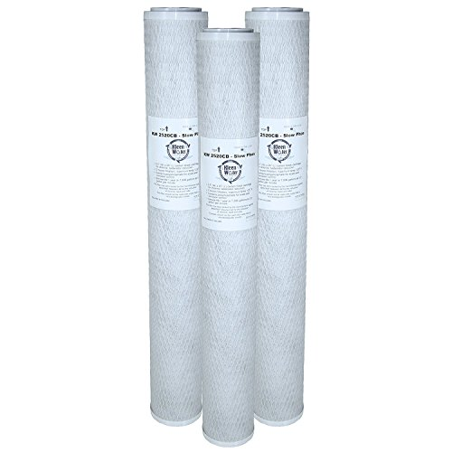 RCFS220 Compatible Filter, Quantity 3, KleenWater Brand KW2520CB-SlowPhos Replacement Carbon Block Water Filter Cartridge, Chlorine, Odor Dirt Sediment Filtration ()