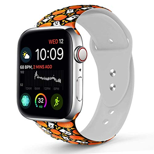 Compatible with A pple Watch Band 42mm 44mm, OOCASE Floraler Soft Silicone iWatch Strap Replacement Sport Band for Apple Watch Band 42mm Series 4/3/2/1 Sport & Edition Cartoon Pumpkin Head and Elves ()