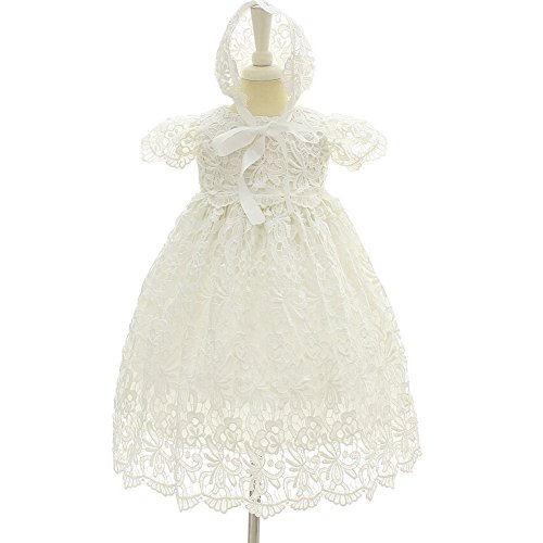Moon Kitty Baby Girl Special Occasion Dress 2PCS Christening Baptism Gowns Girls Hollow Long Dress,White,3M(2-6Months)]()