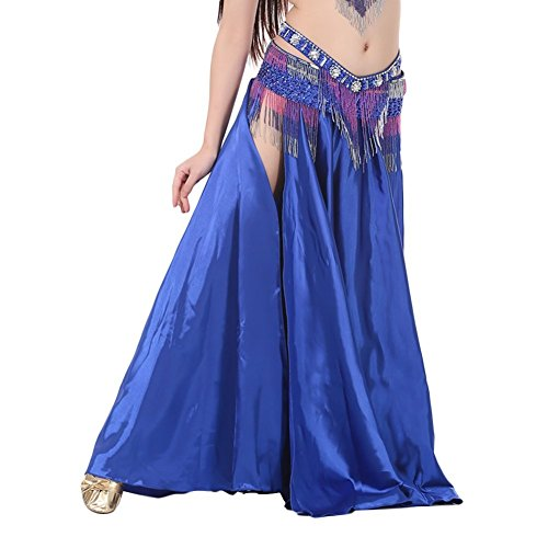 Dance Costumes Retailers (AvaCostume Womens Split Sides Long Belly Dance Skirts, blue)