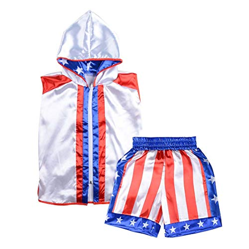 Short Tracksuit with Hood Sleeveless Boxing Ring Jacket Trunks Outfit Fight Wear Sport Suit (Hoodie + Shorts, Kid-L)