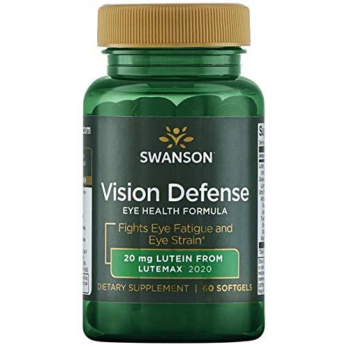 Swanson Vision Defense Antioxidant Vision Health Supplement Eye Fatigue Eye Strain Blue Light Defense Lutein Zeaxanthin Astaxanthin Broccoli Extract Bilberry Extract 60 Softgels Sgels