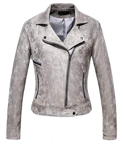 - Chartou Women's Stylish Notched Collar Oblique Zip Suede Leather Moto Jacket (Medium, LGrey)