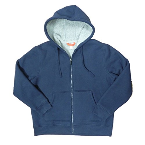 Craftsman Mens Navy Blue Heavy-Duty Faux Sherpa Fur Lined Zip Hoodie Jacket XL