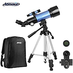 Aomekie Telescope for Kids Adults Astronomy Beginners 70mm Refractor Telescopes with Adjustable Tripod Phone Adapter Finderscope 3X Barlow Lens and Backpack