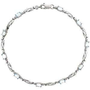 Amazon.com: 10k White Gold Swirl Tennis Bracelet 0.05 ct