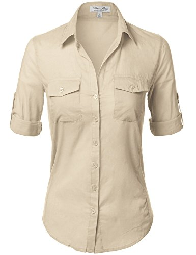 Side Ribbed Panel Stylish Button Down Solid Color Shirts,110-Taupe,US S