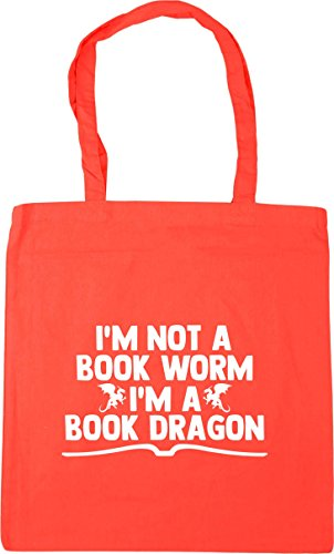 Coral HippoWarehouse Bag 42cm Shopping I'm a Tote worm book 10 im a not litres dragon book Gym Beach x38cm OHqwxO