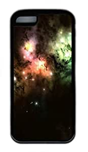 iPhone 5C Case, iPhone 5C Cases -Colorful Cosmic Clouds TPU Silicone Rubber Case Cover for iPhone 5C Black wangjiang maoyi