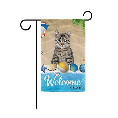 (BAGEYOU Welcome Summer My Love Dog Cat in The Beach Decorative Garden Flag Lovely Puppy Seastar Shell Volleyball Decor Seasonal Banner for Outside 12.5X18 Inch Print Double Sided)