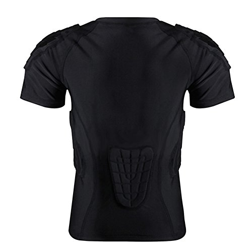 ports Shirt for Yourth Boys Short Sleeve Protective T-Shirt Shoulder Rib Chest Protector Suit for Football Soccer Black L Basketball Protective Gear Clothing (Football America Shoulder Pads)