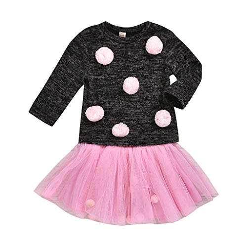 Euone Sales!!! Baby Clothes  Toddler Kids Baby Girls Knitted Warm Plush Hairball Tops + Tutu Tulle Skirts Set Valentine's Day Easter Saint Patrick's Day, Buy Now ❣