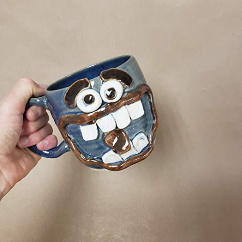 NEW Metal Head Hard Rock Lover Music Coffee Mug. Heavy Metal Head Banger Coffee Cup. Mans Beer Stein Ug Chug. Extra Large 18-24 Ounce Blue Stoneware Pottery for ()