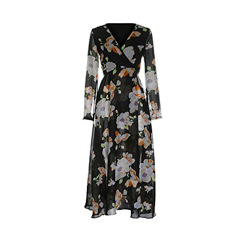 Keepfit Ladies Floral Boho Maxi Dress, Deep V Neck Long Sleeve Evening Party Gowns