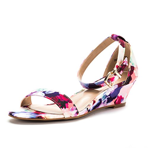 DREAM PAIRS Women's Ingrid Floral Ankle Strap Low Wedge Sandals - 9 M US