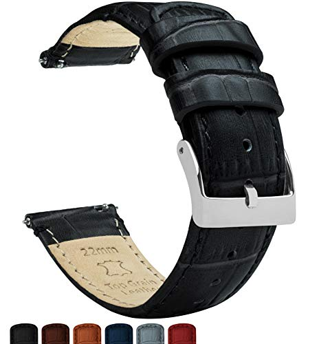 Black Alligator Leather Band - Barton Alligator Grain - Quick Release Leather Watch Bands - Choose Color - 16mm, 18mm, 19mm, 20mm, 21mm, 22mm, 23mm, or 24mm - Black 20mm Strap