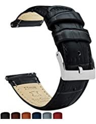Barton Alligator Grain - Quick Release Leather Watch Bands - Choose Color - 18mm, 20mm & 22mm - Black 20mm Strap
