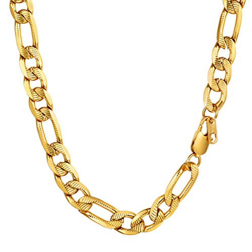 "Figaro Chain,Gold Chain for Men,Hip Hop Jewelry,Chunky Necklace,Chain Necklace,18""/20""/22""/24""/26""/28""/30"",0.39"" Wide,Gift for Him,316L Stainless Steel,18K Gold Plated"