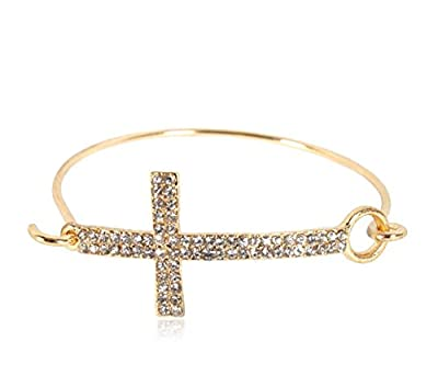 Goldtone with Clear Iced Out Cross Metal Bangle Bracelet (F-243)