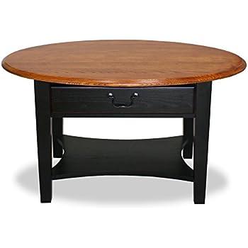 Marvelous Leick Furniture Oval Coffee Table, Medium Oak/Two Tone Slate