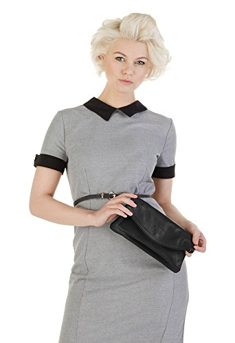 SAMANTHA LOOK Clutch ECHT LEDER schwarz Damen Schultergurt abnehmbar, Innentasche(n), Schultergurt verstellbar