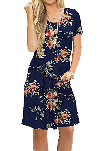 AUSELILY Women's Short Sleeve Pleated Loose Swing Casual Dress with Pockets Knee Length (M, H Rose Navy)