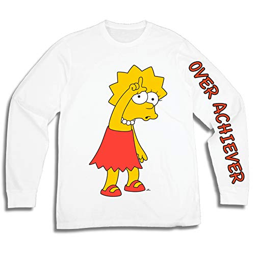 The Simpsons Mens Lisa Simpson Long Shirt Lisa Simpsons Long Sleeve Logo Tee Graphic T-Shirt (White, Medium)