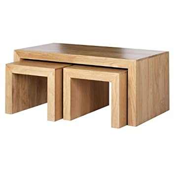 Cuba Oak Long John Nest Coffee Table Furniture