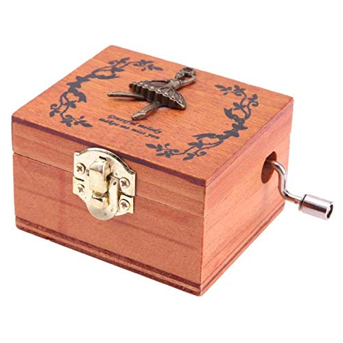 Music Boxes - City Of Sky Vintage Carved Exquisite Retro Wooden Hand Crank Music Box Theme - Trains Granddaughter Box Mother Butterflies Moving Prime Godfather Gloves Anime