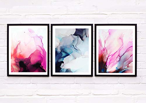 - Set of 3 Abstract Fine Art Prints Grey Skies Bright Colourful Rich Jewel Tone Signed