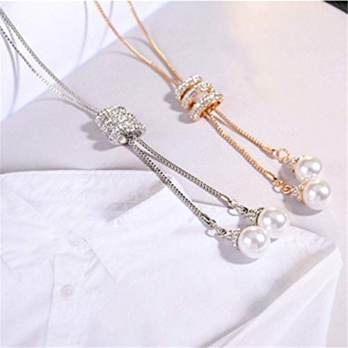 (Best-ycldcyp Fashion Women Spiral Rhinestone Pearl Charms Necklace Alloy Link Chain Pendant Neckwear Jewelry (Color : Gold))