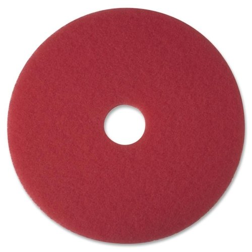 3M Low Speed Red Buffing Floor Pad 5100 - Round, 17 inch Diameter, 3.375 inch Center Perforated Hole, Non Woven Polyester Fiber, Specially Designed for Spray Buffing, Use On Low Speed Rotary Or Automatic Equipment -- 5 per case. - Red Buffer Low Speed Floor