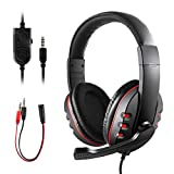 Gaming Headsetfor PS4 Xbox One, JAMSWALL 3.5mm Wired Over-head Stereo Gaming Headset Headphone with Mic Microphone, Volume Control for SONY PS4 PC Tablet Laptop Smartphone Xbox One PS3
