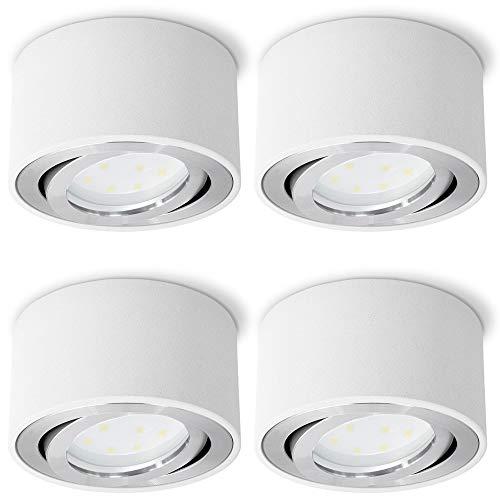 Set van 4 CELI-1W opbouwspot wit, rond & dimbaar – met verwisselbare LED dim 5W warm wit 230V – opbouwspot plat…