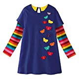 VIKITA Kid Girls Cute Rainbow Butterfly Long Sleeve Cotton Dress LH6808 Color 2T