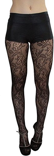 ToBeInStyle Women's Floral Lace Spandex Tights - Black - One Size: Regular