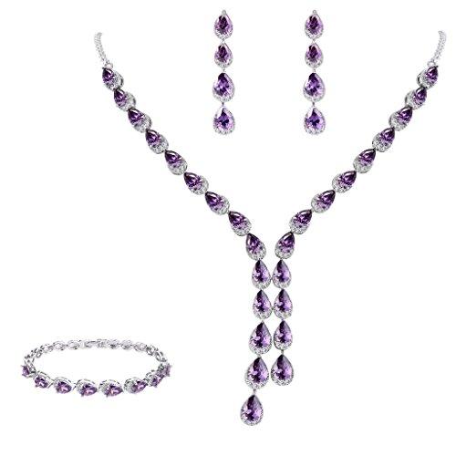 (FANZE Women's Prong All Teardrop Cubic Zirconia Gorgeous Wedding Bridal Y-Necklace Dangle Earrings Jewelry Set Amethyst Color)