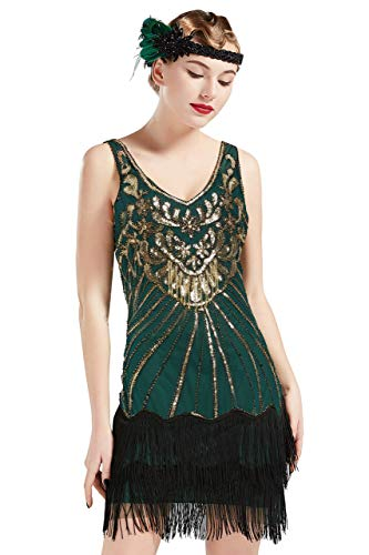 BABEYOND Women's Flapper Dresses 1920s V Neck Beaded Fringed Dress Great Gatsby Dress (Gold Green, S)