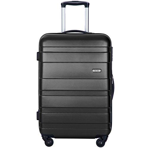 Merax Afuture 20 24 28 inch Luggage Lightweight Spinner Suitcase (24, Black)