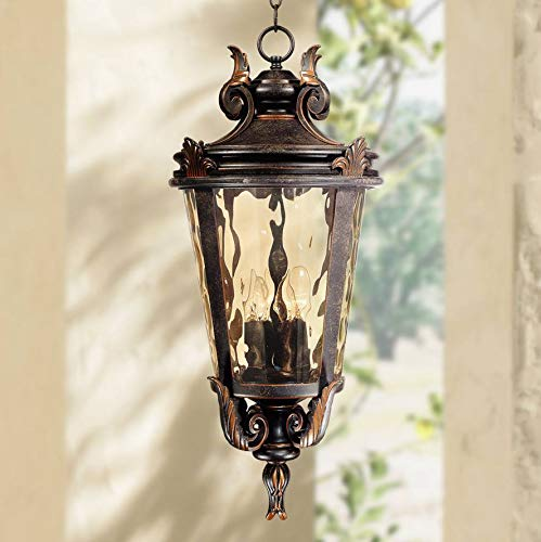 "Casa Marseille Traditional Outdoor Light Hanging Veranda Bronze Scroll 26 1/4"" Champagne Water Glass Damp Rated for Porch Patio - John Timberland"