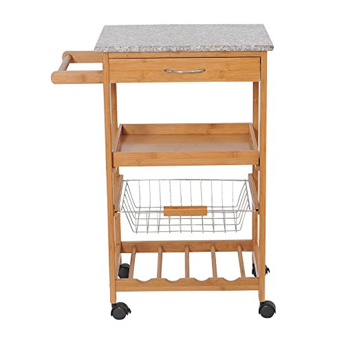 New Kitchen Island Cart Trolley Portable Rolling Storage Dining Table Bamboo 31'' by totoshopcabinet