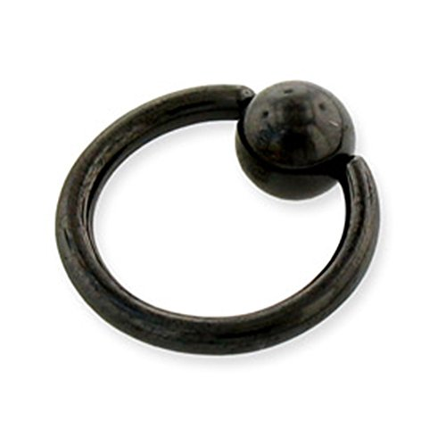 MsPiercing Black Captive Bead Ring, 14 Ga, 7/8