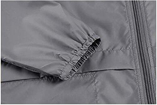 Leggera Con Impermeabile Antipioggia Alla Donna Moda Grigio Esterno Da Giacca Cappuccio wT7PBq66