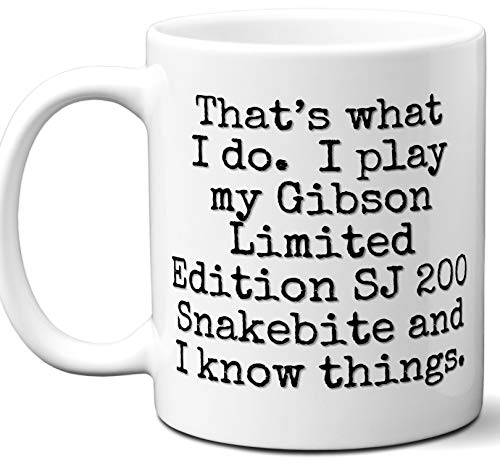 - Guitar Gifts Mug. Gibson Limited Edition SJ 200 Snakebite Guitar Players Lover Accessories Music Teacher Lover Him Her Funny Dad Men Women Card Pick Musician Acoustic Unique